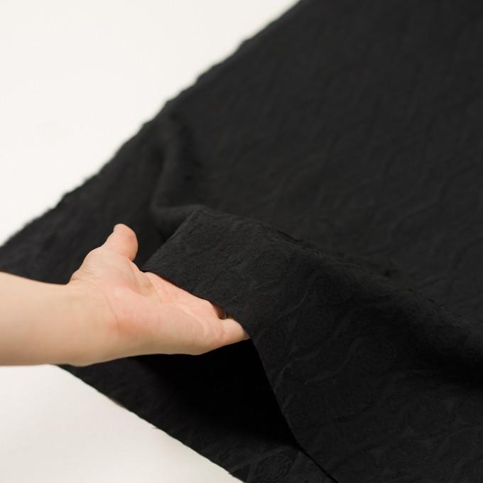 ウール&レーヨン×幾何学模様(ブラック)×ジャガード_全3色 イメージ5