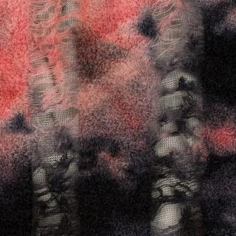 ウール&ナイロン×ミックス(チェリー&ブラック)×ネット&パイルジャガード