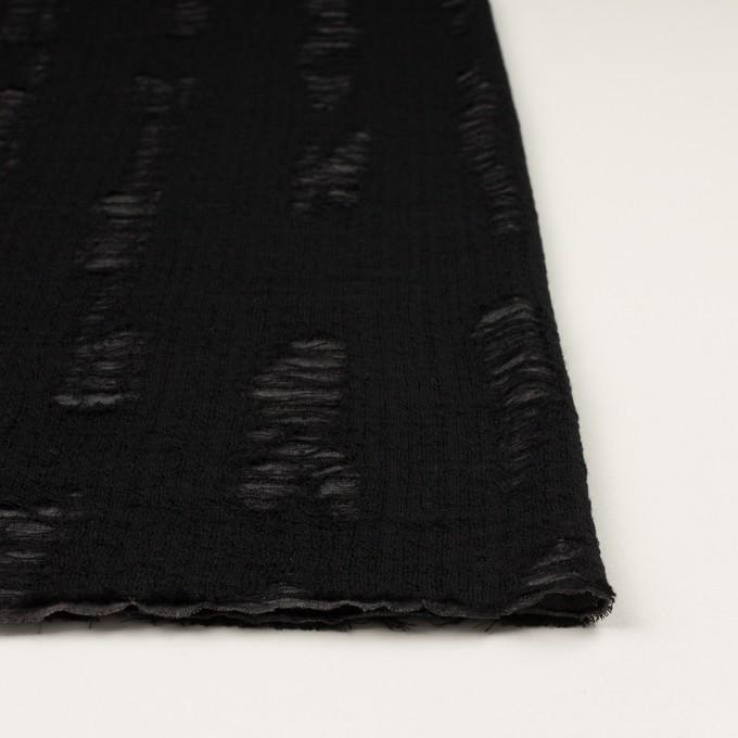 ウール&アクリル混×ミックス(チャコールグレー&ブラック)×Wジャガードニット イメージ3