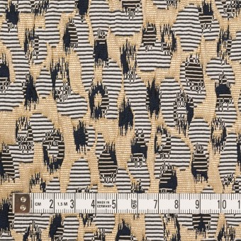 ポリエステル&アクリル混×幾何学模様(ゴールド&ブラック)×フクレジャガード_フランス製 サムネイル4