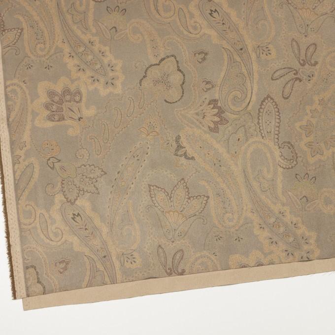 ポリエステル×ペイズリー(カーキ&ゴールド)×スエードかわり織 イメージ2