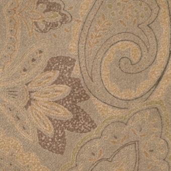 ポリエステル×ペイズリー(カーキ&ゴールド)×スエードかわり織