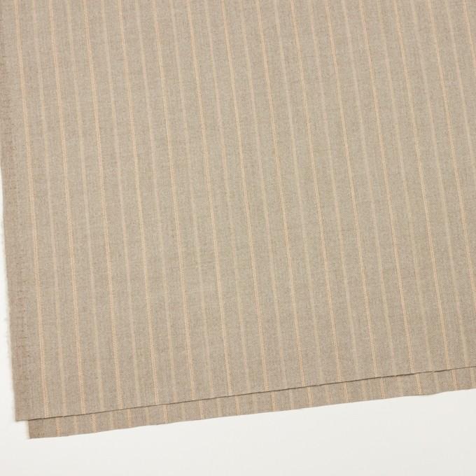 ウール&ポリウレタン混×ストライプ(グレイッシュベージュ)×サージジャガード・ストレッチ イメージ2