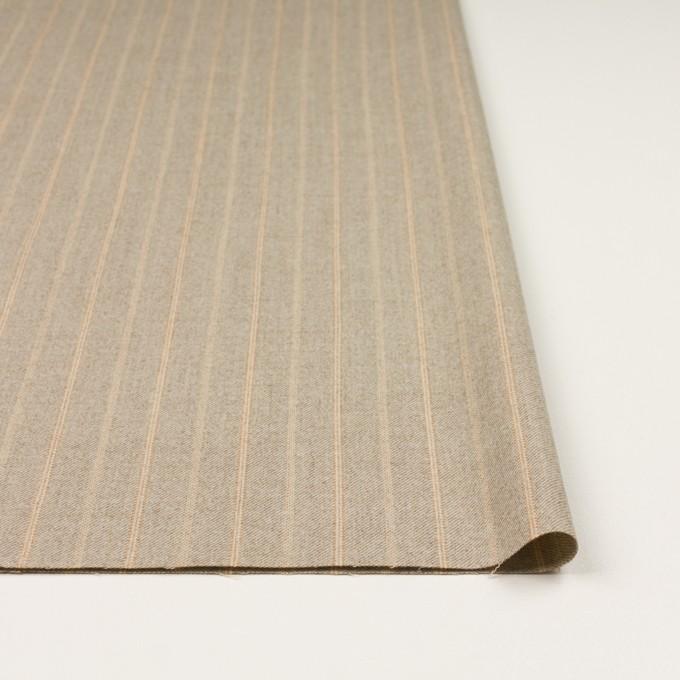 ウール&ポリウレタン混×ストライプ(グレイッシュベージュ)×サージジャガード・ストレッチ イメージ3