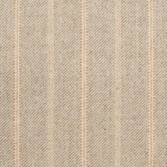 ウール&ポリウレタン混×ストライプ(グレイッシュベージュ)×サージジャガード・ストレッチ