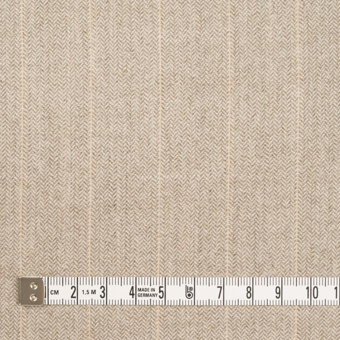 ウール&ナイロン混×ストライプ(グレイッシュベージュ)×ヘリンボーン・ストレッチ イメージ4