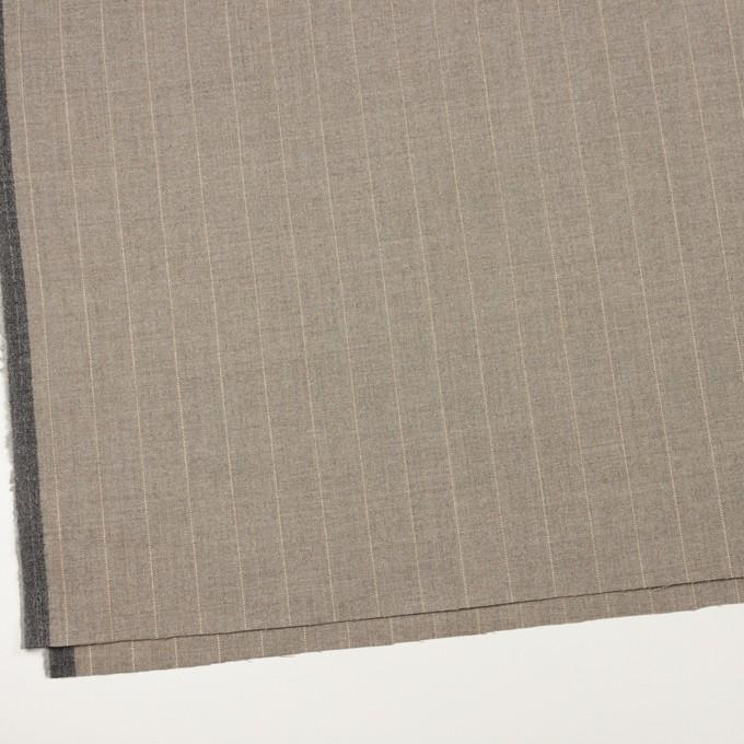 ウール&ナイロン混×ストライプ(ベージュグレー)×ヘリンボーン・ストレッチ イメージ2