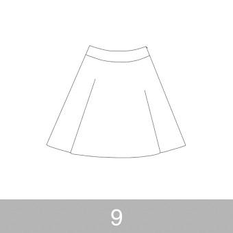 オリジナルパターン#017_ヨーク切替フレアスカート_9号