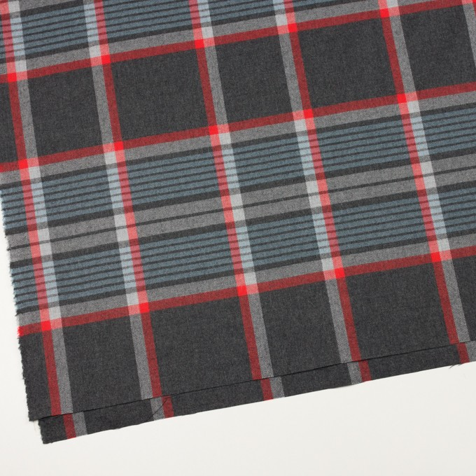 ウール×チェック(チャコールグレー、ブルーグレー&レッド)×サージ_全2色 イメージ2