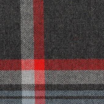ウール×チェック(チャコールグレー、ブルーグレー&レッド)×サージ_全2色