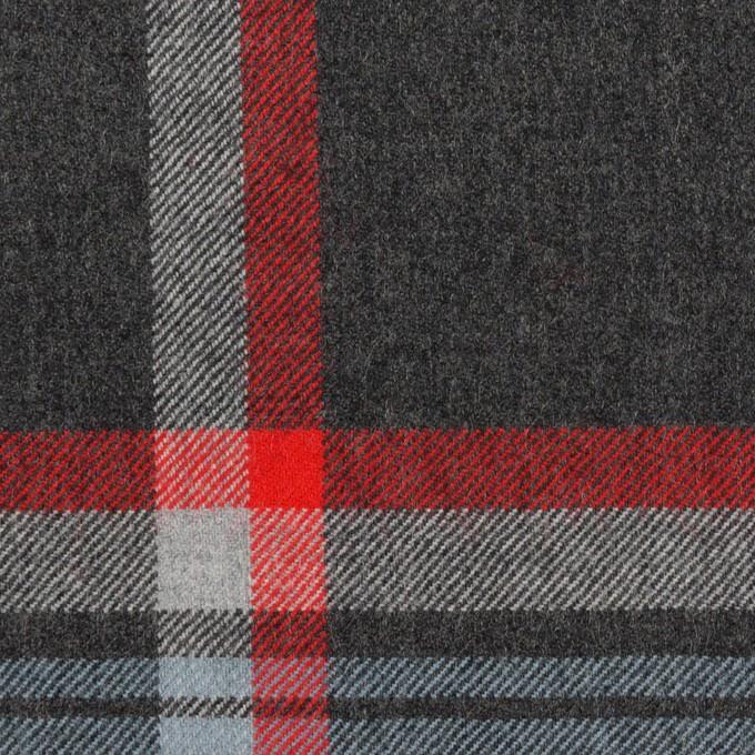 ウール×チェック(チャコールグレー、ブルーグレー&レッド)×サージ_全2色 イメージ1