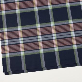 ウール×チェック(ネイビー、ピーチ&ミントグリーン)×サージ_全2色 サムネイル2