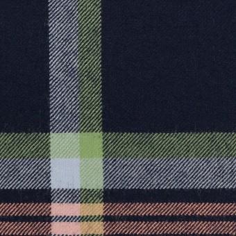ウール×チェック(ネイビー、ピーチ&ミントグリーン)×サージ_全2色