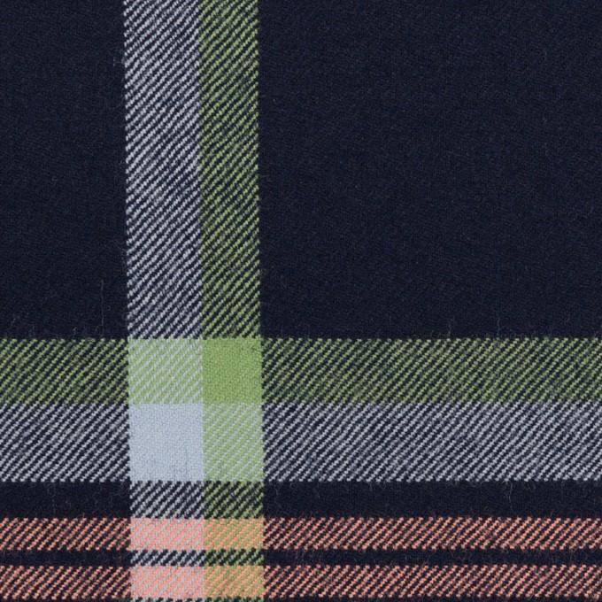 ウール×チェック(ネイビー、ピーチ&ミントグリーン)×サージ_全2色 イメージ1