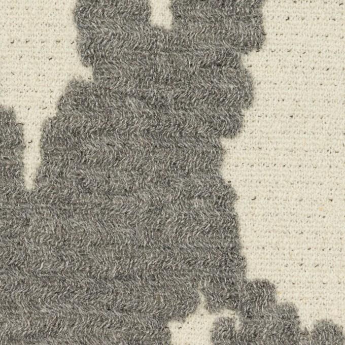 ウール&ナイロン×幾何学模様(キナリ&グレー)×二重織ジャガード_全2色 イメージ1