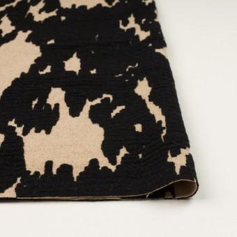 ウール&ナイロン×幾何学模様(ベージュ&ブラック)×二重織ジャガード_全2色 サムネイル3