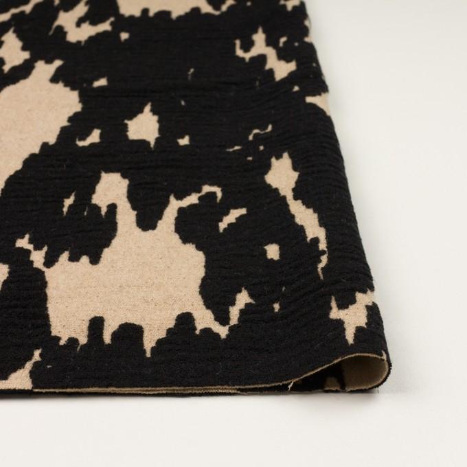 ウール&ナイロン×幾何学模様(ベージュ&ブラック)×二重織ジャガード_全2色 イメージ3