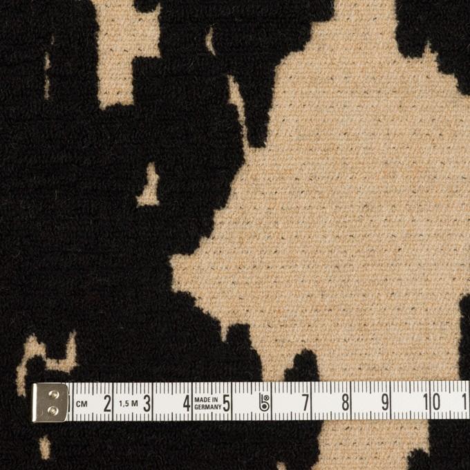 ウール&ナイロン×幾何学模様(ベージュ&ブラック)×二重織ジャガード_全2色 イメージ4