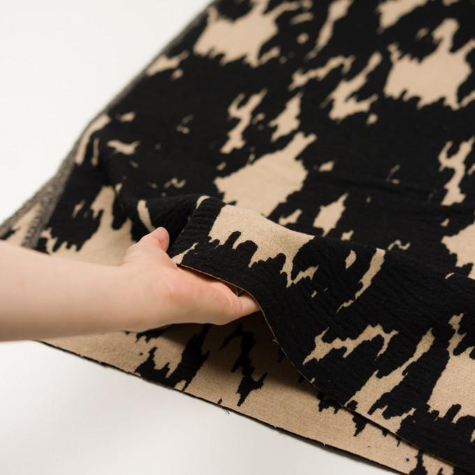 ウール&ナイロン×幾何学模様(ベージュ&ブラック)×二重織ジャガード_全2色 イメージ5