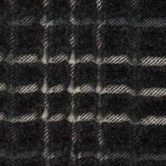 ウール×チェック(チャコール)×ジャガード_全2色