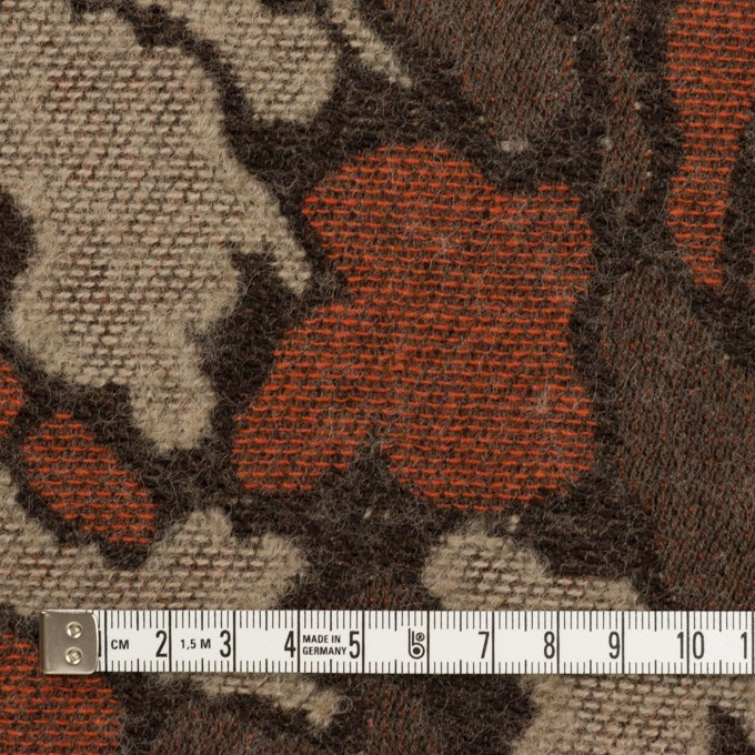ウール&ポリエステル混×幾何学模様(オレンジ&モカブラウン)×ジャガード_全2色 イメージ4