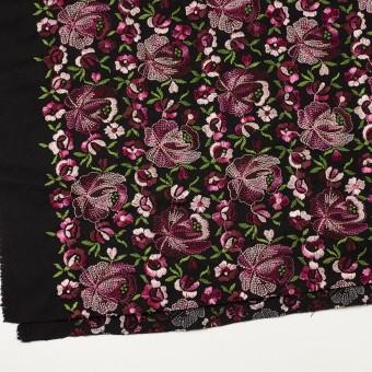 ウール×フラワー(ピンク&ブラック)×サージ刺繍_フランス製 サムネイル2