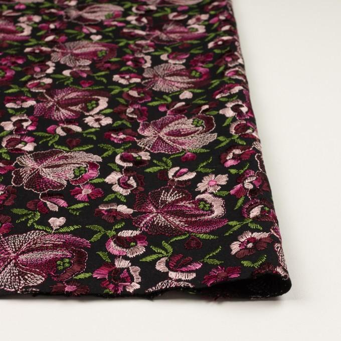 ウール×フラワー(ピンク&ブラック)×サージ刺繍_フランス製 イメージ3