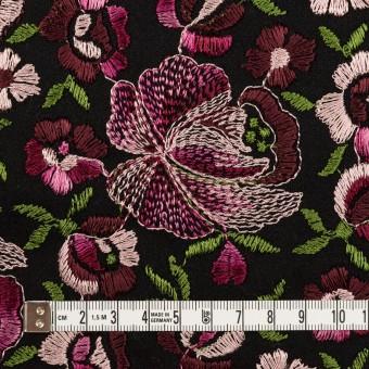 ウール×フラワー(ピンク&ブラック)×サージ刺繍_フランス製 サムネイル4