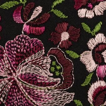 ウール×フラワー(ピンク&ブラック)×サージ刺繍_フランス製