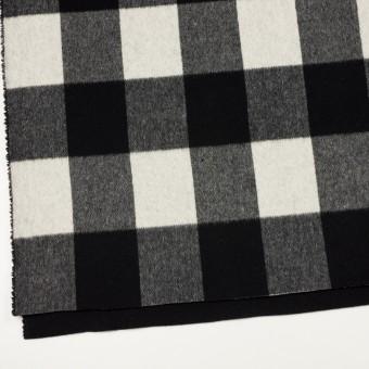 ウール&カシミア混×チェック&無地(ブラック&アイボリー)×ビーバー&フラノ(Wフェイス) サムネイル2