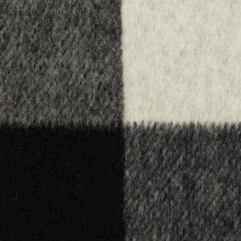 ウール&カシミア混×チェック&無地(ブラック&アイボリー)×ビーバー&フラノ(Wフェイス)