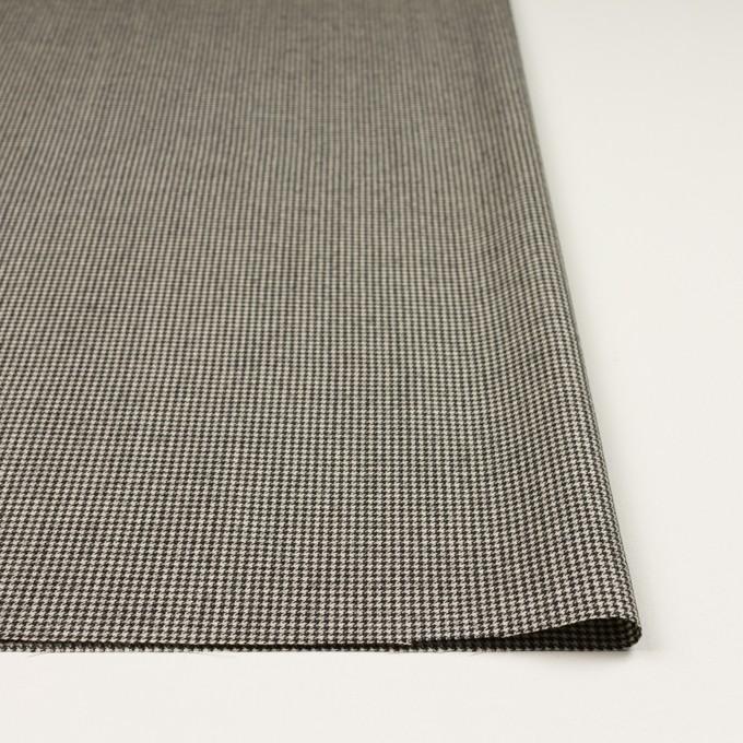 ウール&ナイロン混×チェック(キナリ&ブラック)×千鳥格子ストレッチ イメージ3