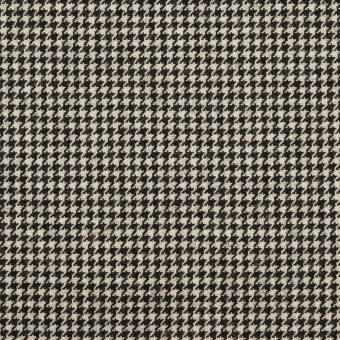 ウール&ナイロン混×チェック(キナリ&ブラック)×千鳥格子ストレッチ