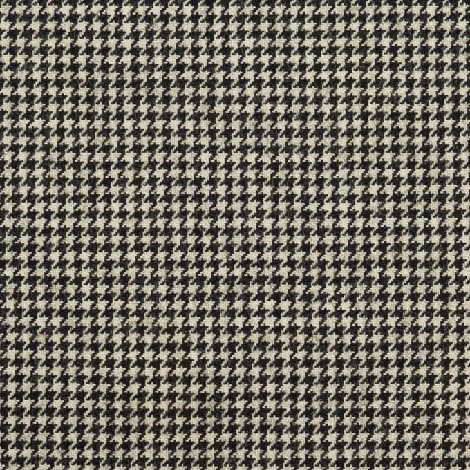 ウール&ナイロン混×チェック(キナリ&ブラック)×千鳥格子ストレッチ イメージ1