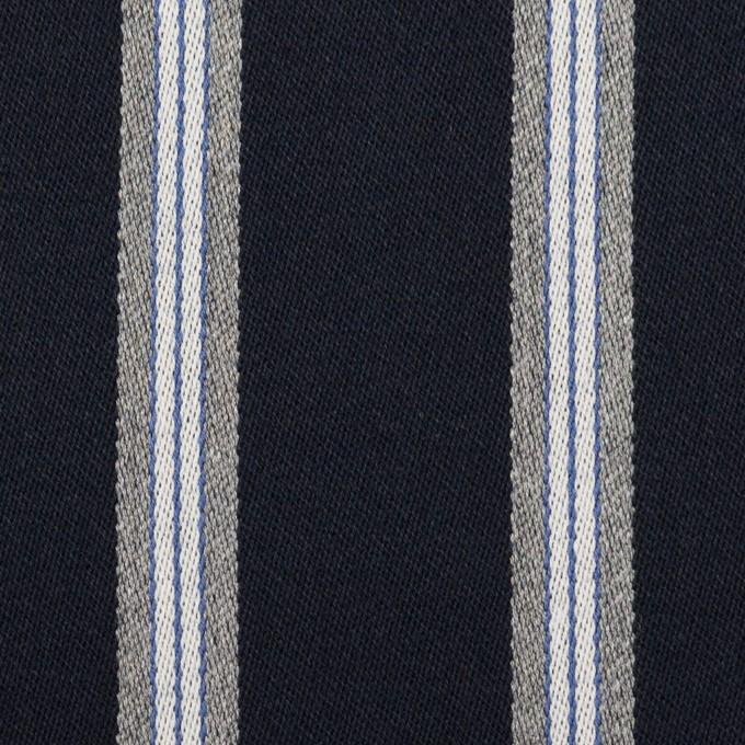 ウール&ポリエステル×ストライプ(ネイビー&グレー)×ベネシャン イメージ1