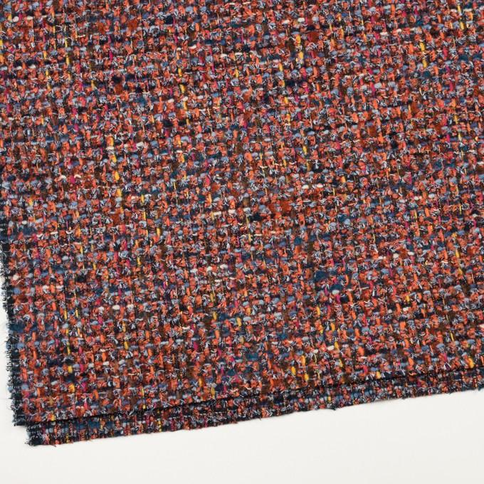 ポリエステル&ナイロン混×ミックス(レンガ&ブルー)×ファンシーツイード_フランス製 イメージ2