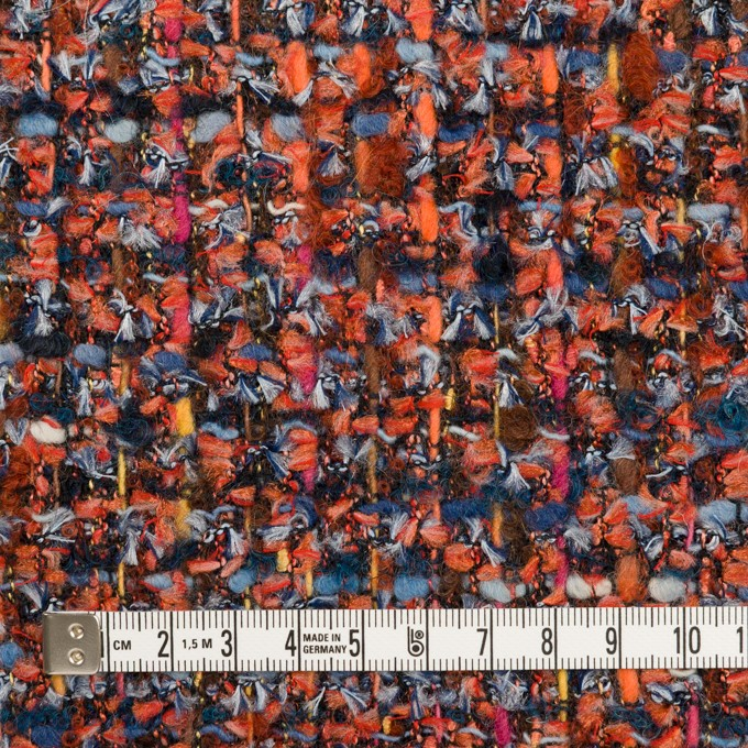 ポリエステル&ナイロン混×ミックス(レンガ&ブルー)×ファンシーツイード_フランス製 イメージ4