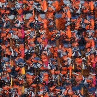 ポリエステル&ナイロン混×ミックス(レンガ&ブルー)×ファンシーツイード_フランス製 サムネイル1