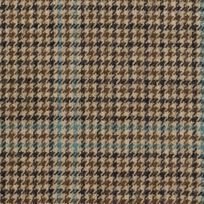 ウール×チェック(ブラウン&サックス)×千鳥格子 イメージ1