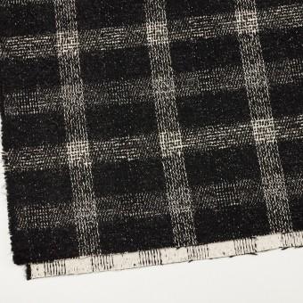コットン&ウール混×チェック(キナリ&ブラック)×ファンシーツイード サムネイル2