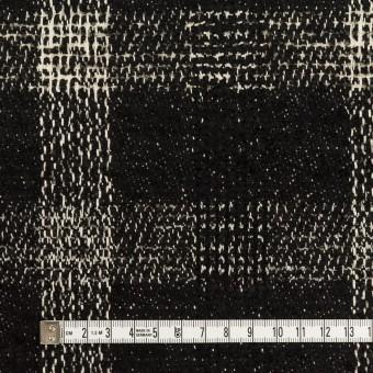 コットン&ウール混×チェック(キナリ&ブラック)×ファンシーツイード サムネイル4