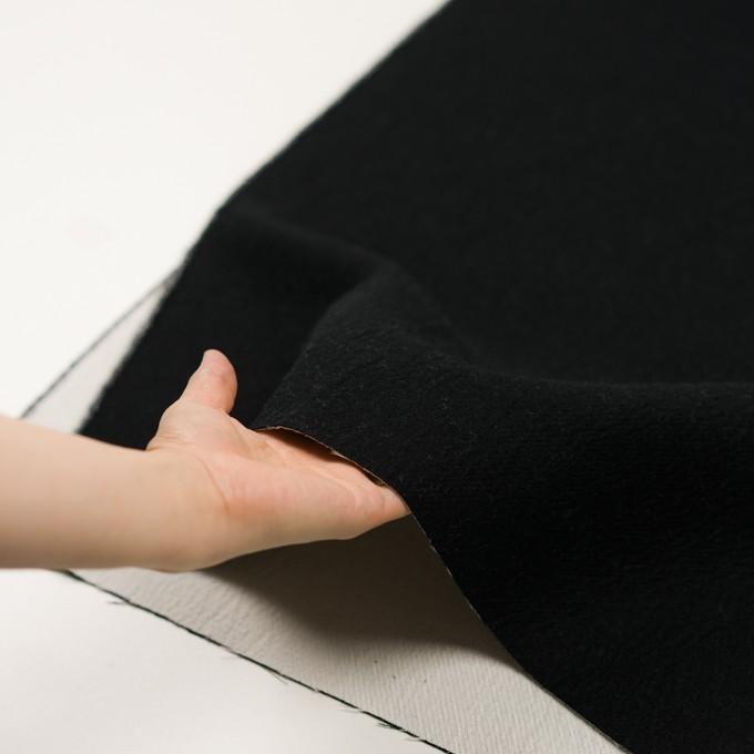 ウール&コットン×無地(ブラック&アイボリー)×二重織 イメージ5