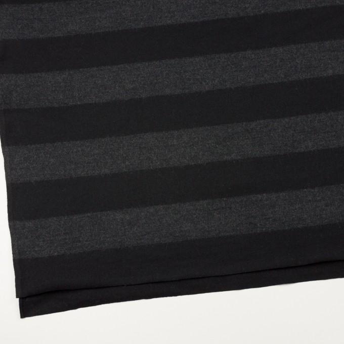 ウール×ボーダー(チャコールグレー&ブラック)×天竺ニット イメージ2