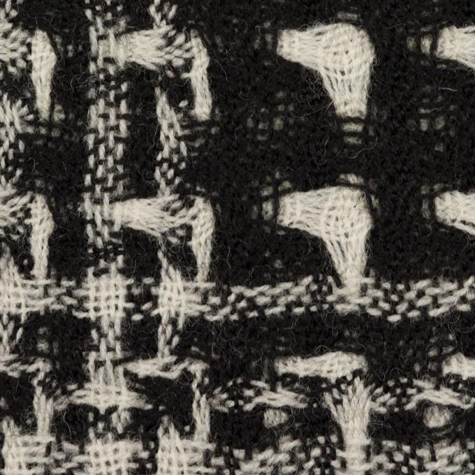 ウール×チェック(アイボリー&ブラック)×二重織ガーゼ イメージ1