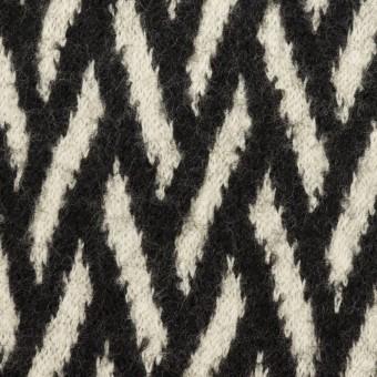 ウール×幾何学模様(アイボリー&ブラック)×ジャガードニット サムネイル1