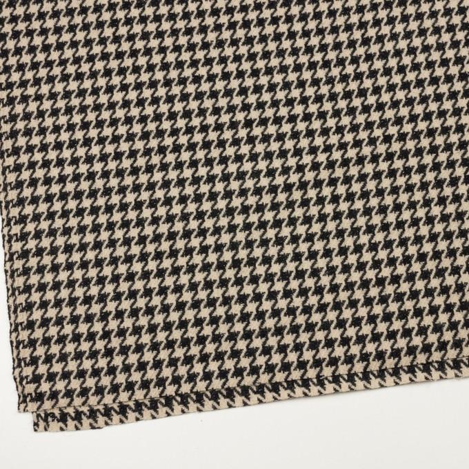 ウール&アルパカ混×チェック(ベージュ&ブラック)×千鳥格子 イメージ2