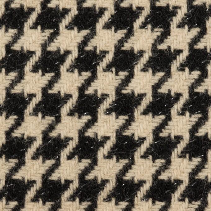 ウール&アルパカ混×チェック(ベージュ&ブラック)×千鳥格子 イメージ1
