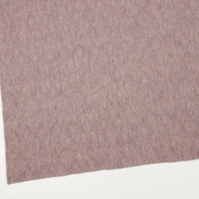 ウール&アクリル混×幾何学模様(グレイッシュピンク)×模様編みニット イメージ2