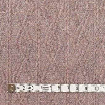 ウール&アクリル混×幾何学模様(グレイッシュピンク)×模様編みニット サムネイル4