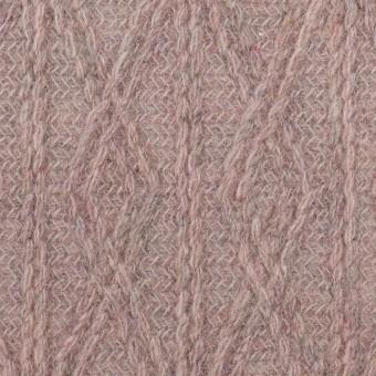 ウール&アクリル混×幾何学模様(グレイッシュピンク)×模様編みニット サムネイル1